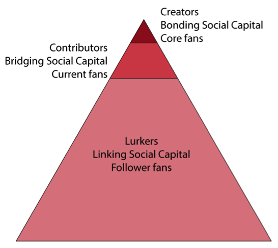 Model showing internet users, fans and social capital