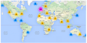 Map showing a global distribution of SCFC Twitter followers generated using Followerwonk.