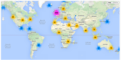 showing a global distribution of SCFC Twitter followers generated using Followerwonk.