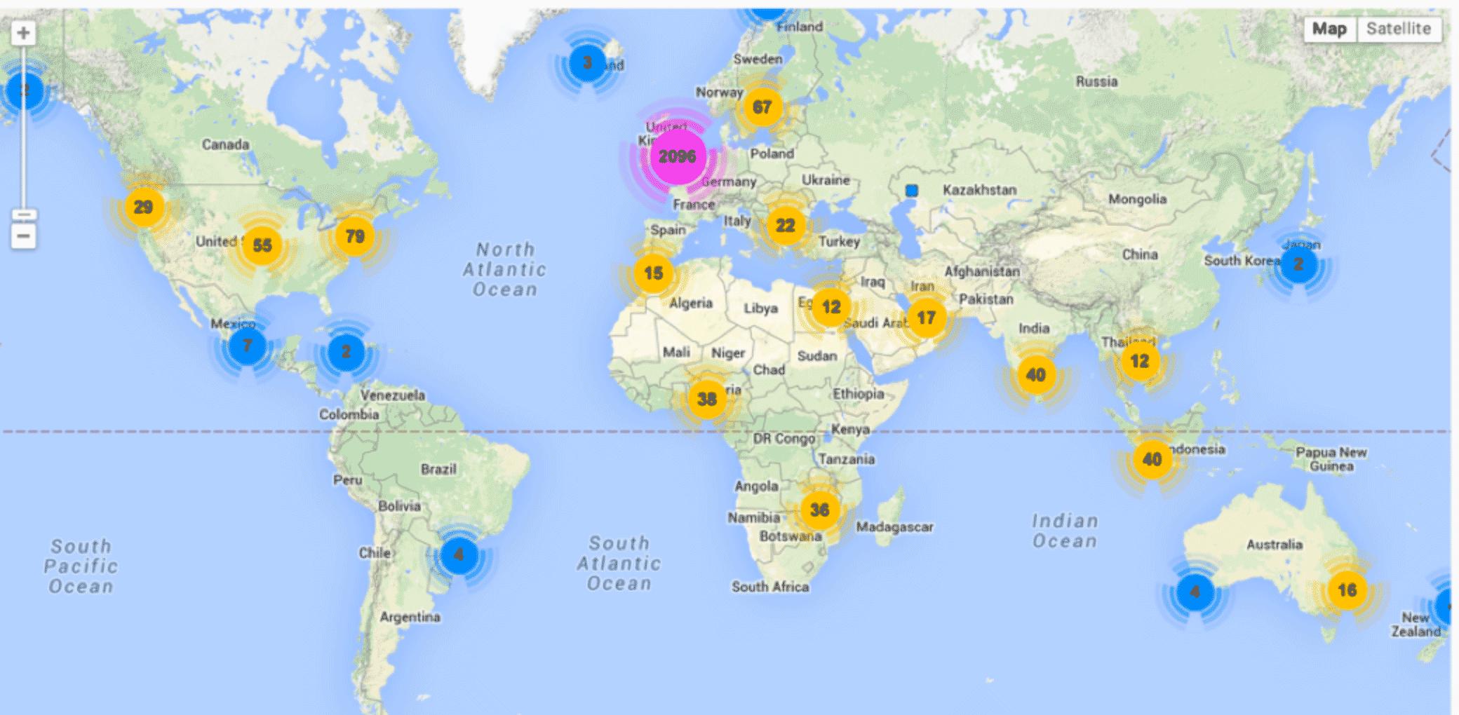 Graph showing Salfords international fans